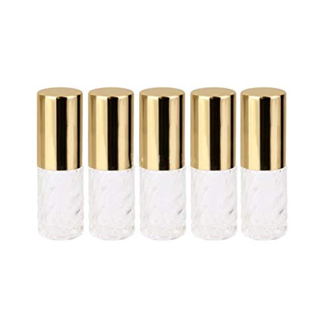 5ピース   5ml ガラスローラーボトル 透明な交換旅行 空のロールオン ガラス香水瓶