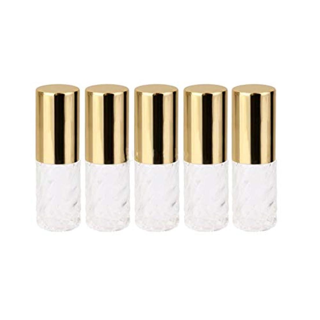 スナップ基本的な再発する5ピース   5ml ガラスローラーボトル 透明な交換旅行 空のロールオン ガラス香水瓶