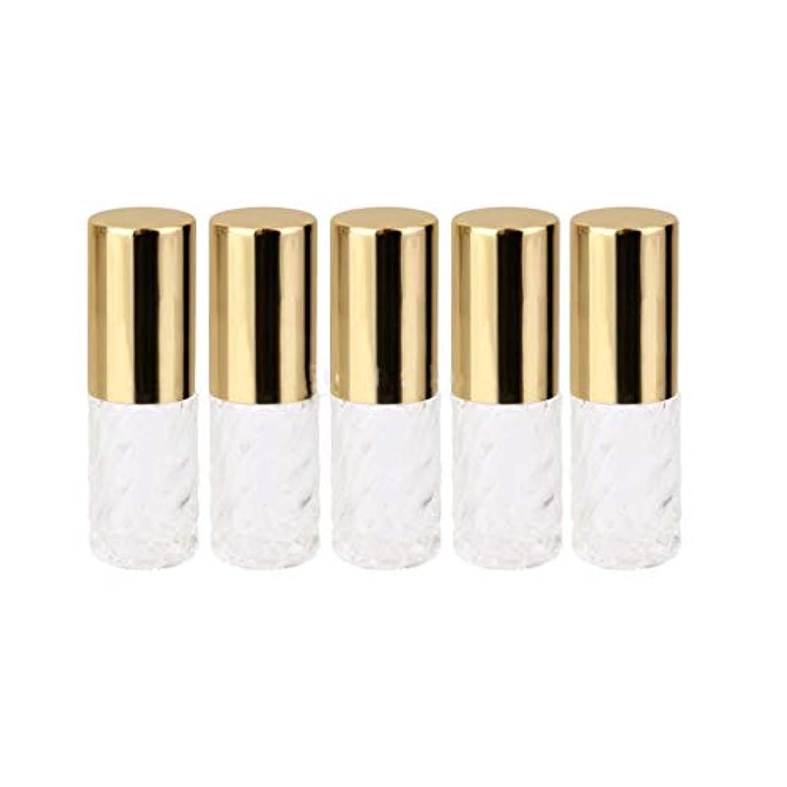 パトワ対抗提出する5ピース   5ml ガラスローラーボトル 透明な交換旅行 空のロールオン ガラス香水瓶