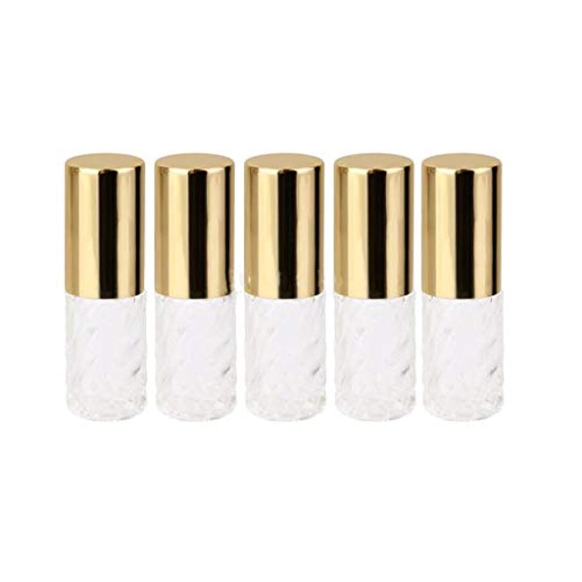 列挙する困惑するテクニカル5ピース   5ml ガラスローラーボトル 透明な交換旅行 空のロールオン ガラス香水瓶