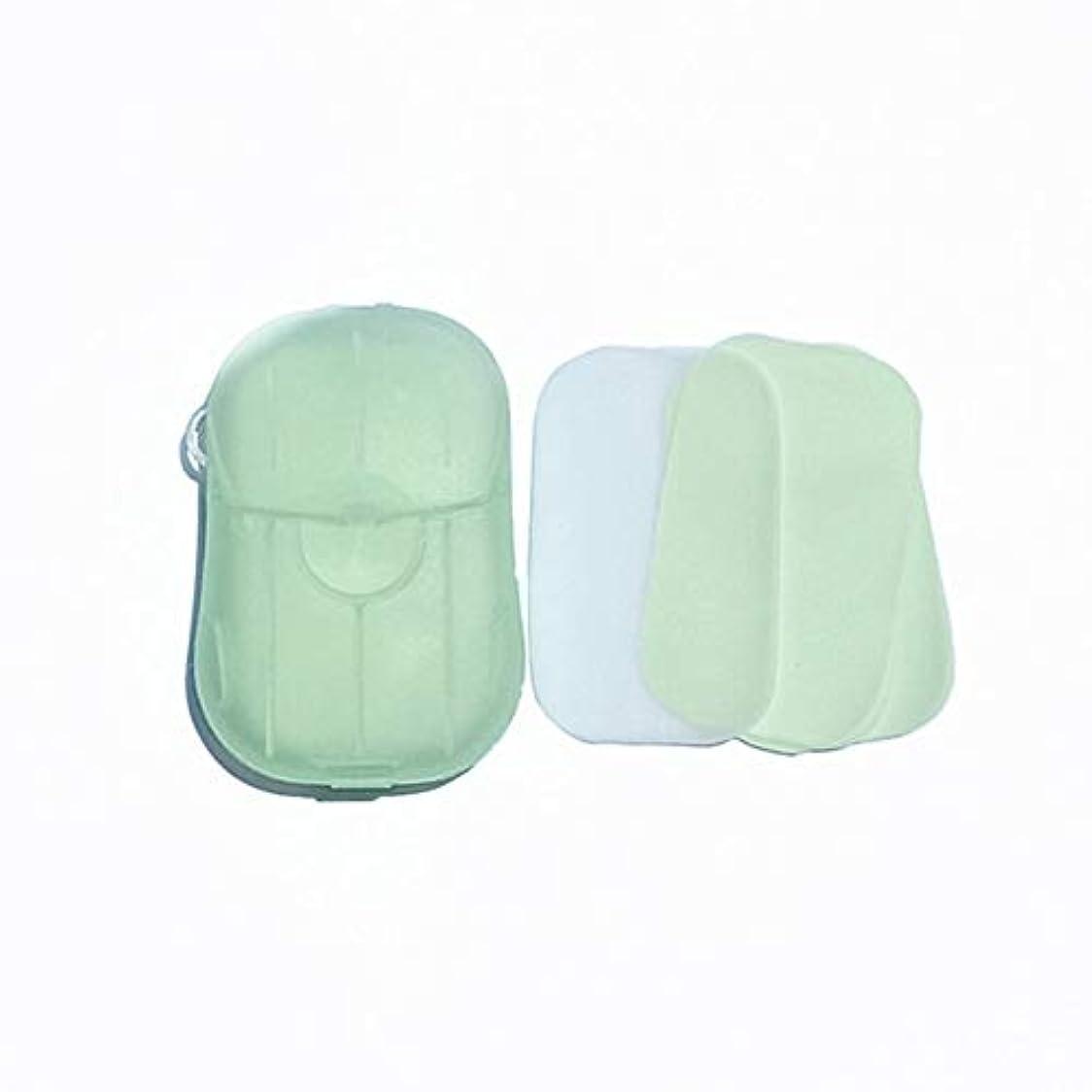 伝記包帯石炭Feglin-joy ペーパーソープ せっけん紙 除菌 石鹸 手洗い お風呂 旅行携帯用 紙せっけん かみせっけん 香り 20枚入 ケース付き(よもぎ)