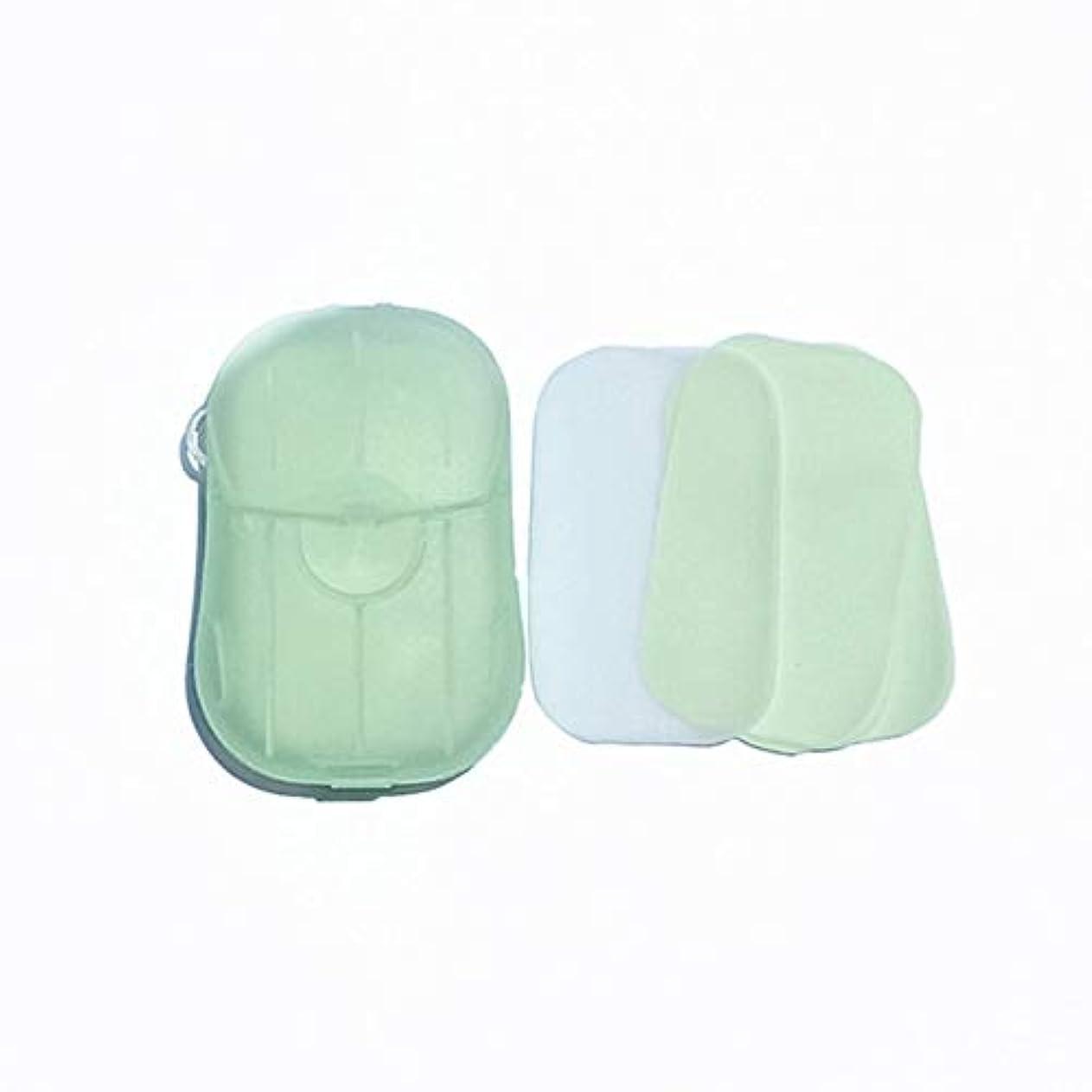 原稿定期的に空のFeglin-joy ペーパーソープ せっけん紙 除菌 石鹸 手洗い お風呂 旅行携帯用 紙せっけん かみせっけん 香り 20枚入 ケース付き(よもぎ)
