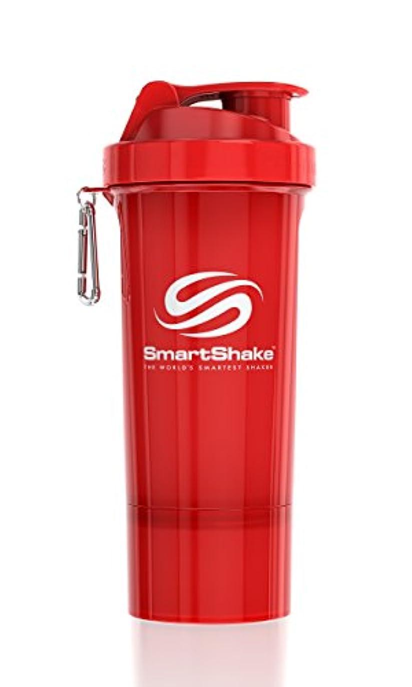 エンドテーブル実際のイヤホンSmartShake Slim(スマートシェイク スリム)RED 500ml プロテインシェイカー