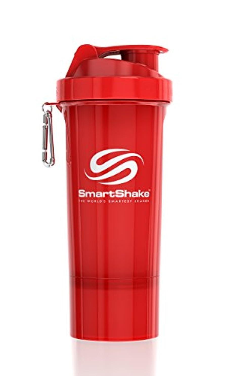 日帰り旅行にピット解決するSmartShake Slim(スマートシェイク スリム)RED 500ml プロテインシェイカー