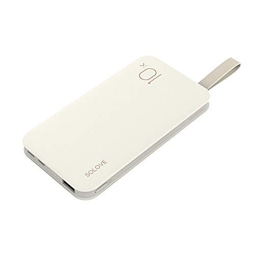 SOLOVE モバイルバッテリー 薄型 軽量 10000mAh 充電器 ライトニング Type-C 入力 ストラップ付き 両面挿し コンパクト 便利 iPhoneXS iPhoneXS MAX iPhoneX iPhone7/8 Plusなど対応 ホワイト