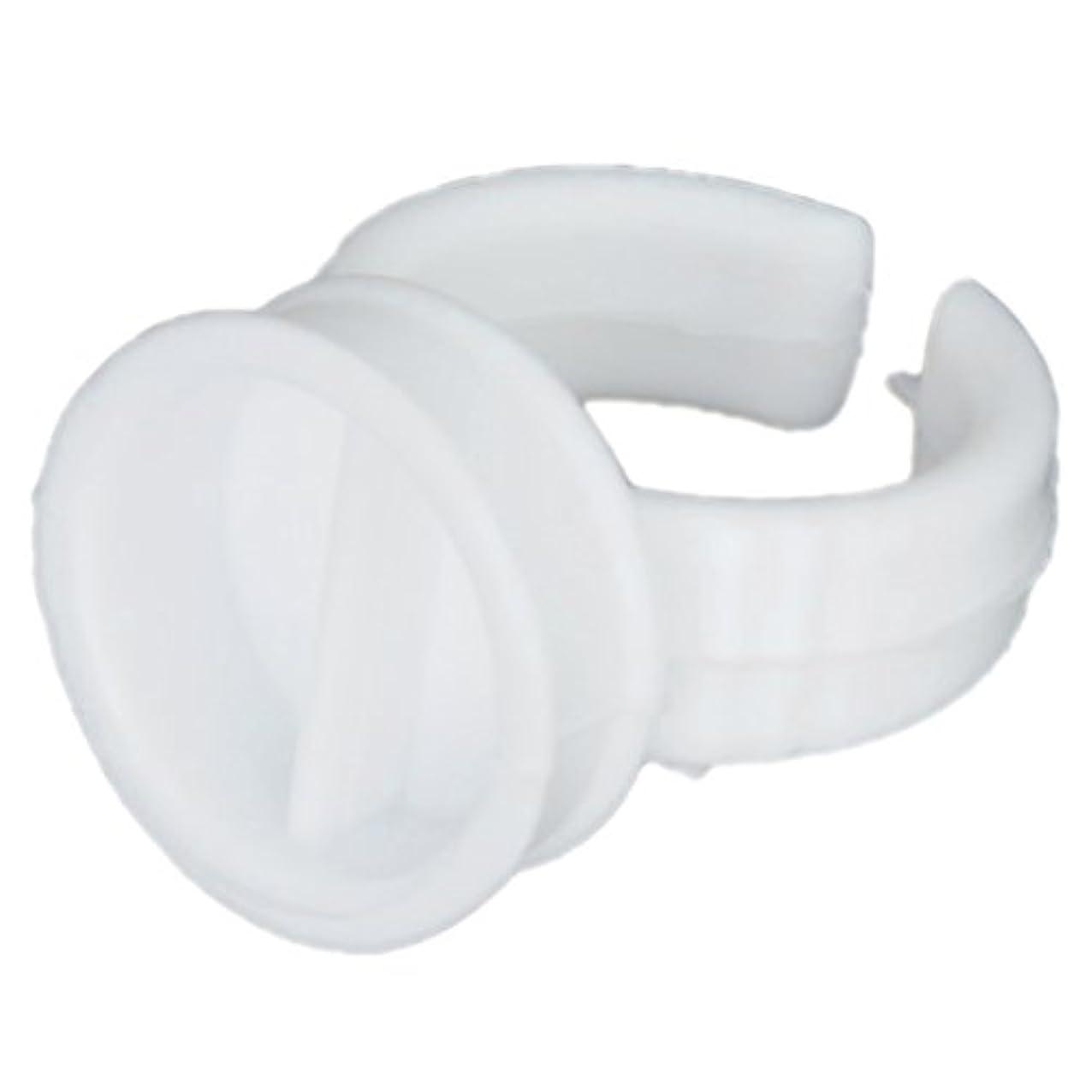 不安定なカブ本部SODIAL(R) 1バッグ 約100個 使い捨てグルーホルダーリング まつげエクステンション用 2スロット---ホワイト