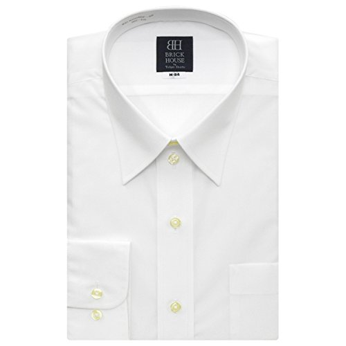 BRICK HOUSE 長袖 ワイシャツ 形態安定 レギュラー 白無地 ブロード BXLR20050H-96 シロ L-86