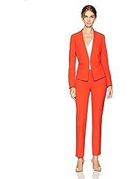 Tahari by Arthur S. Levine Women's Bi Stretch Open Front Pant Suit Tangerine 8 [並行輸入品]