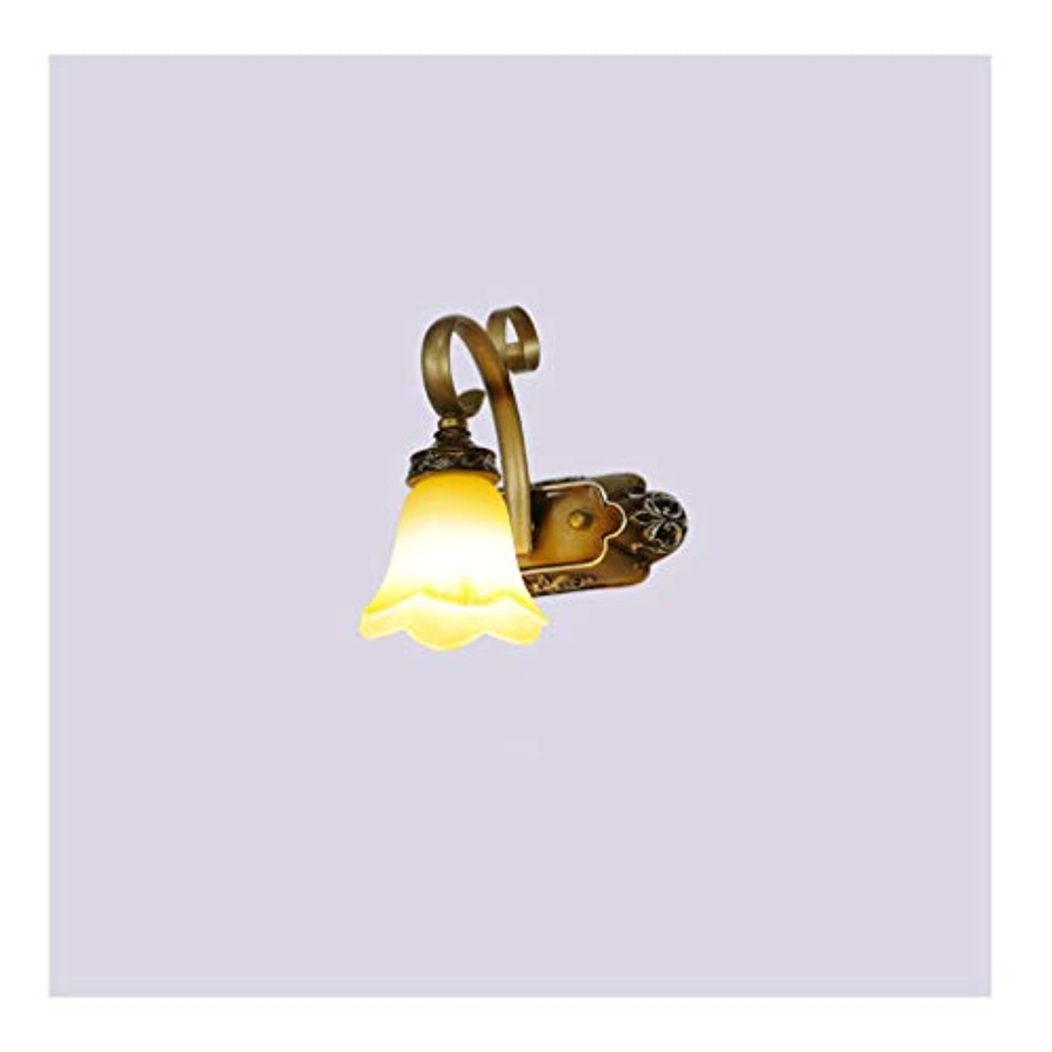 再生夜明けにピーク鏡ミラーライト LEDバスルームミラーヘッドライト洗濯、化粧台ランプ、化粧ランプ、ヨーロッパの古典的な、ミラーキャビネットライト [エネルギークラスA ++] (Color : A, Size : One heads)