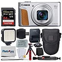 Canon PowerShot SX740 HS デジタルカメラ + 64GB メモリカード+ ポイント&シュートケース + フレキシブル三脚 + LEDビデオライト + USBカードリーダー + クリーニングペン + スクリーンプロテクター - アクセサリーバンドル