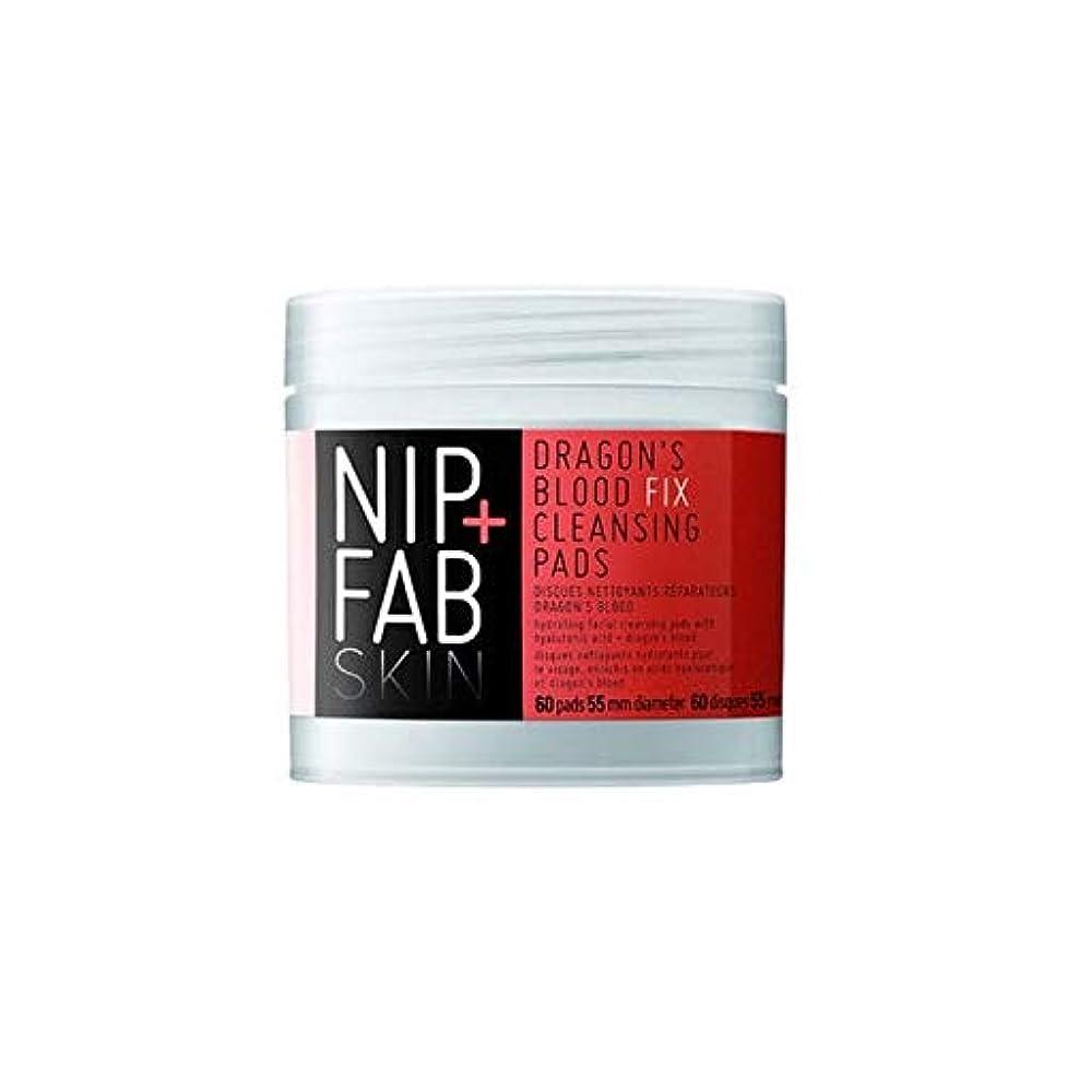 遅れ愚かな寝具[Nip & Fab] + Fabドラゴンの血修正クレンジングパッドX60ニップ - Nip+Fab Dragons Blood Fix Cleansing Pads x60 [並行輸入品]