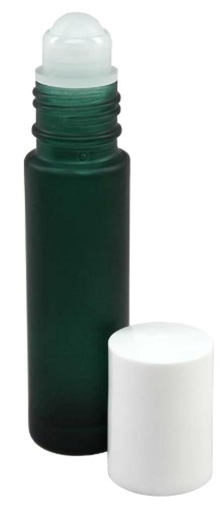 乏しいエーカー注意10 ml (1/3 fl oz) Green Frosted Glass Essential Oil Roll On Bottles - Pack of 4