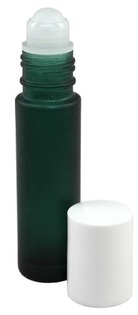 配当バブル人質10 ml (1/3 fl oz) Green Frosted Glass Essential Oil Roll On Bottles - Pack of 4