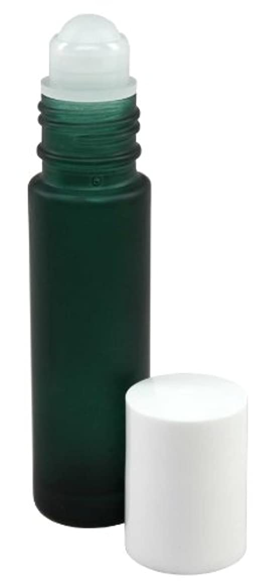 の前でお母さん巻き取り10 ml (1/3 fl oz) Green Frosted Glass Essential Oil Roll On Bottles - Pack of 4