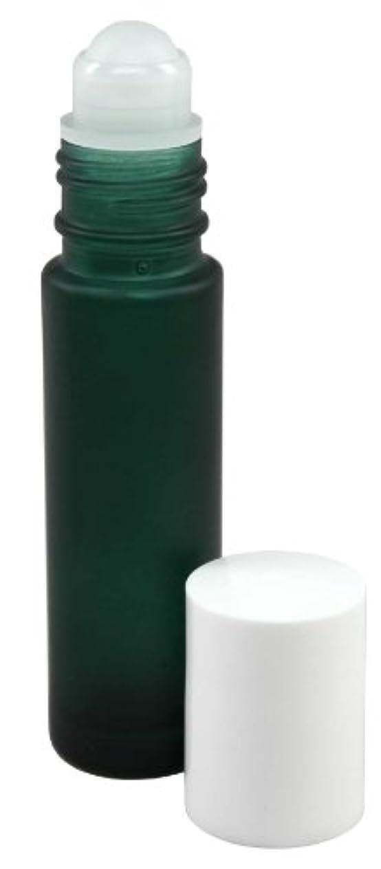 容器適用済みルール10 ml (1/3 fl oz) Green Frosted Glass Essential Oil Roll On Bottles - Pack of 4