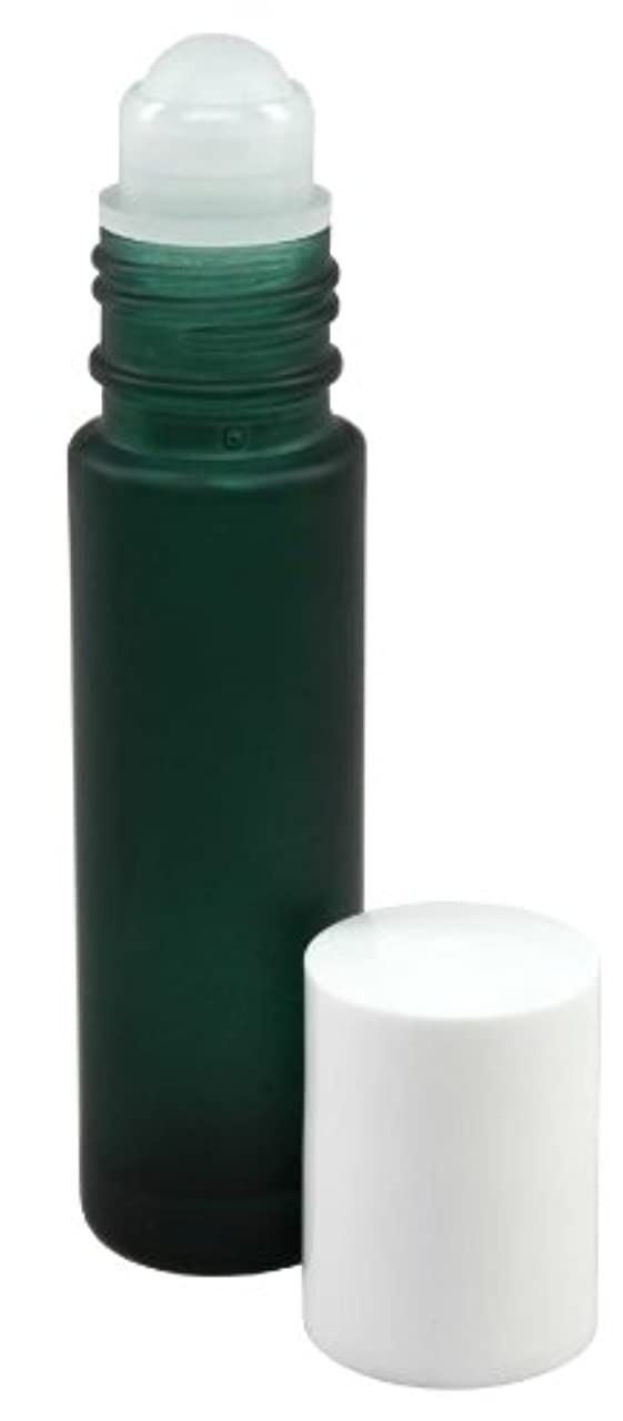 キャプチャー確認する発掘する10 ml (1/3 fl oz) Green Frosted Glass Essential Oil Roll On Bottles - Pack of 4