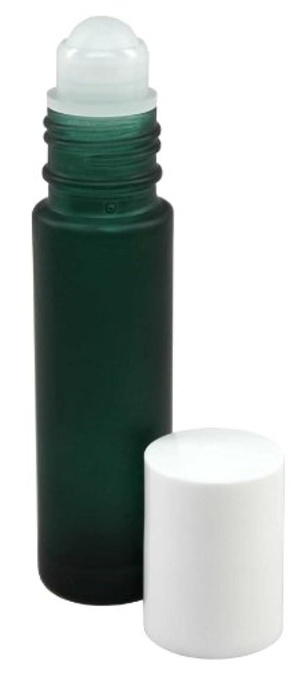 まだら間優れた10 ml (1/3 fl oz) Green Frosted Glass Essential Oil Roll On Bottles - Pack of 4