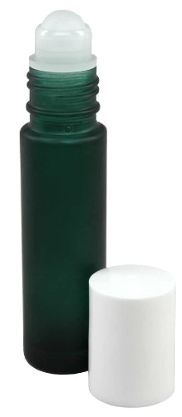 陽気なトランザクション投げる10 ml (1/3 fl oz) Green Frosted Glass Essential Oil Roll On Bottles - Pack of 4