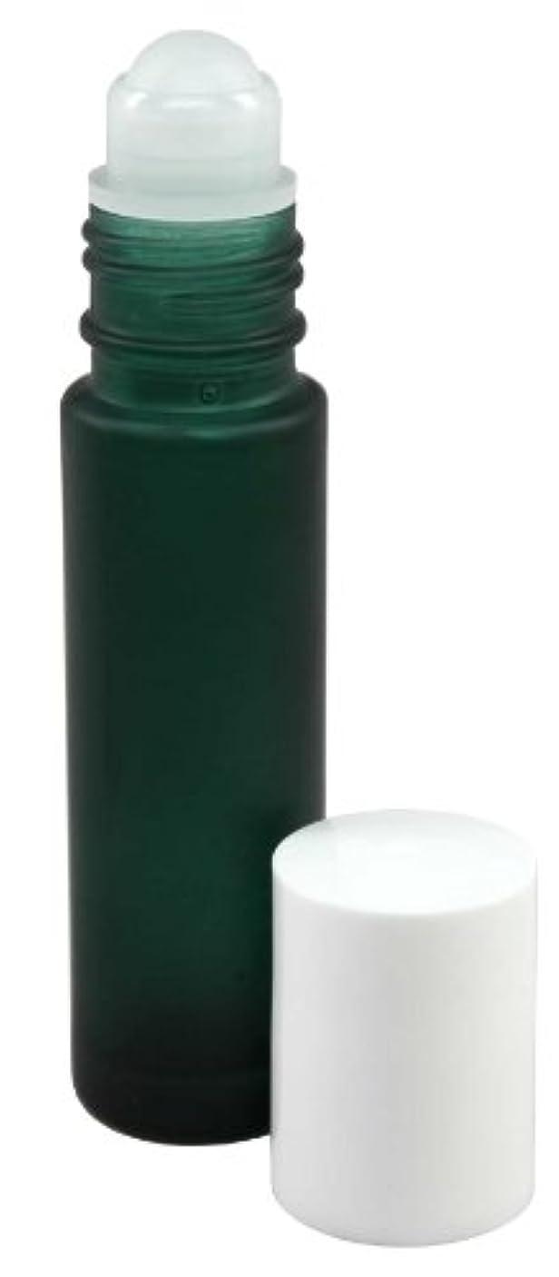 幸運なレトルト表現10 ml (1/3 fl oz) Green Frosted Glass Essential Oil Roll On Bottles - Pack of 4