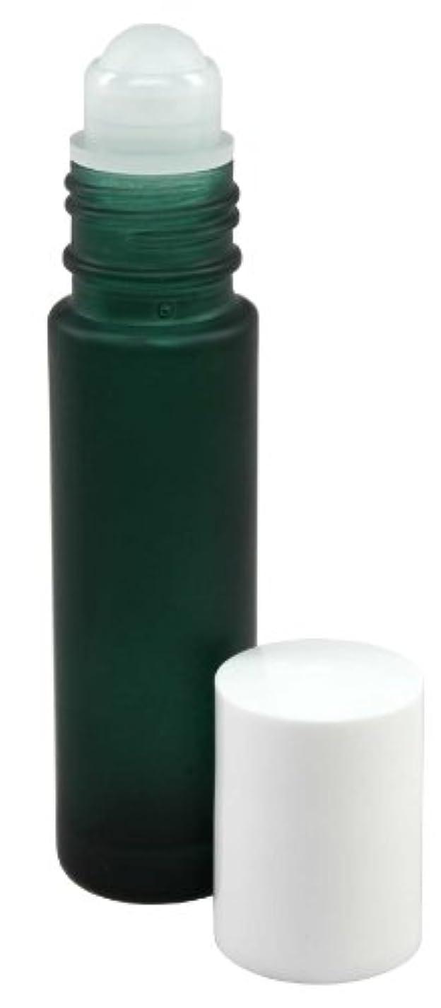 賞賛画像電気の10 ml (1/3 fl oz) Green Frosted Glass Essential Oil Roll On Bottles - Pack of 4