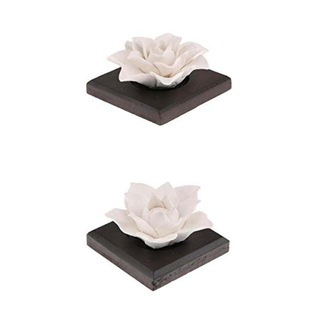 おなじみの肉緊急2つの陶磁器の花の精油の香りのにおいの拡散器の芳香剤の装飾を置きなさい