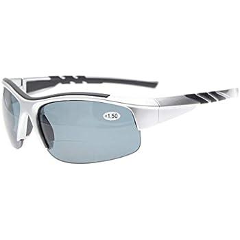 アイキーパー(Eyekepper) スポーツ用 TR90 壊れにくい ハーフリムレス 遠近両用 サングラス メンズ レディース 野球 ランニング お釣り ドライビング ゴルフ ハイキング ケース&ポーチ&クロス付 シルバーフレーム グレーレンズ +2.50