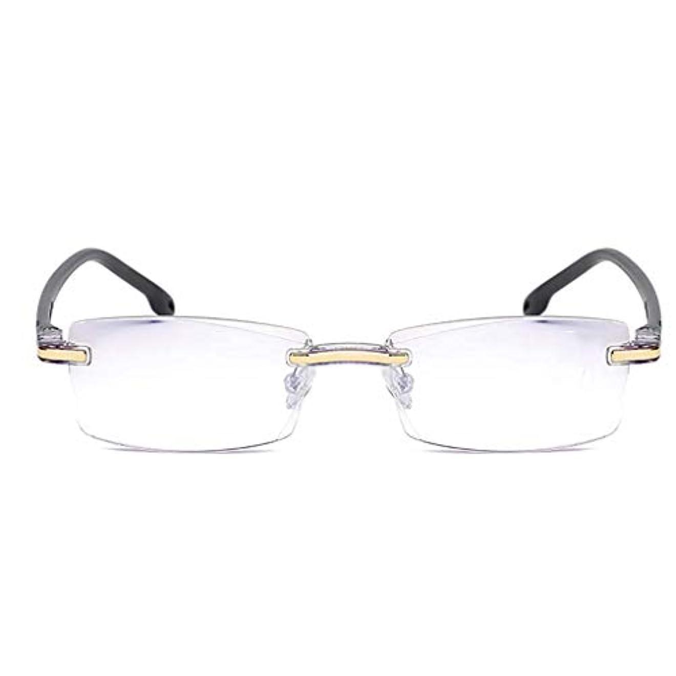 アンチ青ライト老眼鏡,フレームレスの読者 軽量 Hd レンズ ビジネス老眼鏡 簡単な耐久性-黒 +2.5