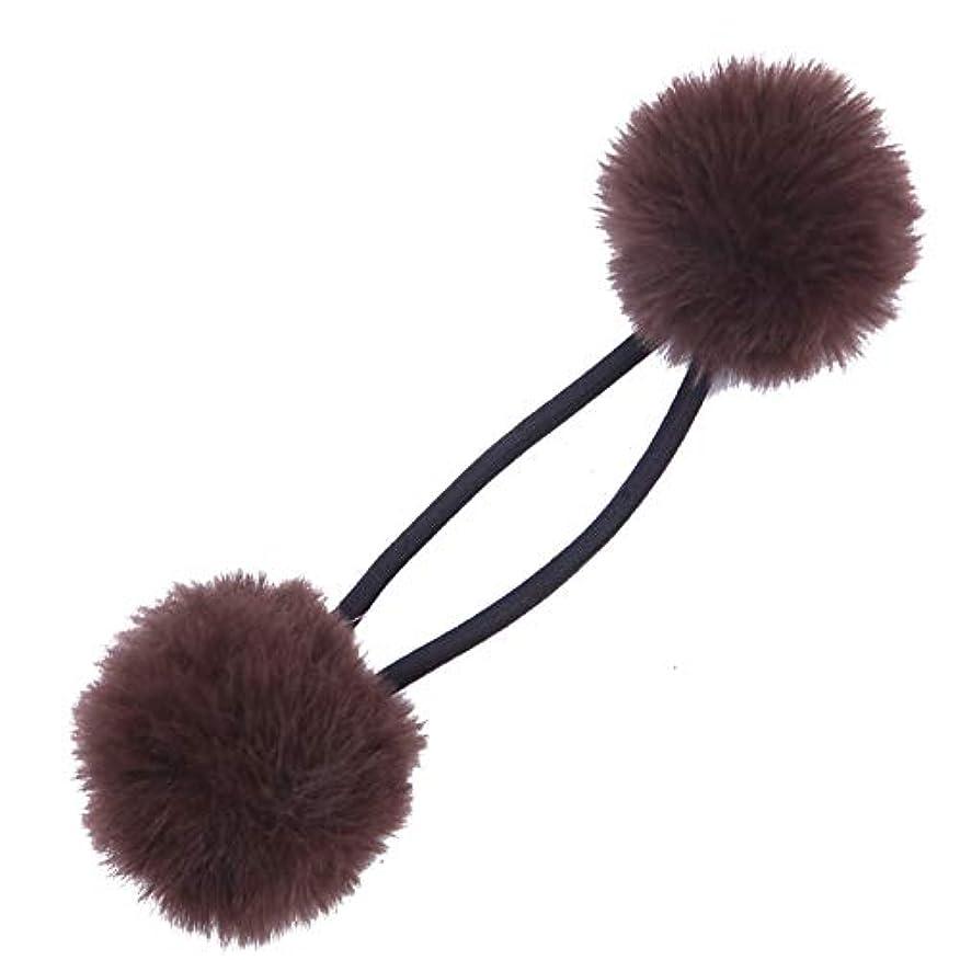 換気与える責めるクラン フェイクファー ポンポン ヘアゴム 髪留め 直径約3.5cm