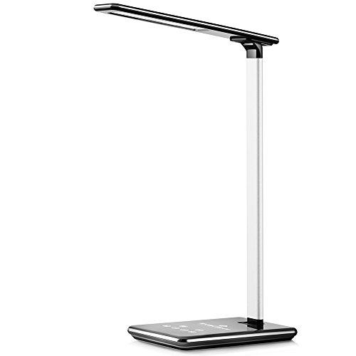 BYBLIGHT LEDデスクライト 面発光・目に優しい【無段階調光・4段階調色】 タイマー機能 USB充電ポート搭載電気スタンド 読書や勉強等に最適 黒