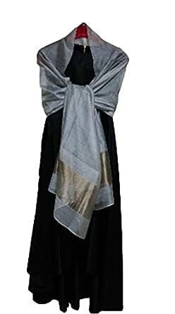 (エスエヌケー)SNK  冷房対策 シルク シフォンの華やかストール・ショール・スカーフ 薄手 羽織り (GRAY)