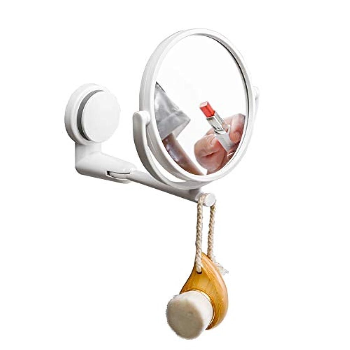 CatChi 壁付けミラー 両面化粧鏡 3倍拡大鏡 折りたたみ 360度回転 女優ミラー 吸盤式 お風呂 洗面所 アームミラー 取り付け簡単
