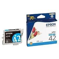 (まとめ) エプソン EPSON インクカートリッジ シアン ICC42 1個 【×4セット】 ds-1570604