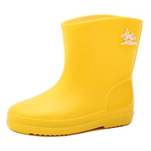 Hellozebra 子供用レインブーツ可愛い長靴キッズレインシューズ雨靴ジュニアスニーカー防水防寒 入園準備子ども幼児小学生通園通学女の子男の子安全 雨、雪遊び 無地雨具軽量軽いおしゃれ 19.0cm