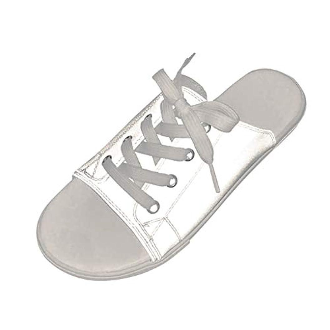 崩壊免疫オーラルカップルは靴を照らす スリッパシューズ サンダル フラットビーチシューズ 魚の口の靴 輝くサンダル フラットスリッパ レースアップビーチサンダル