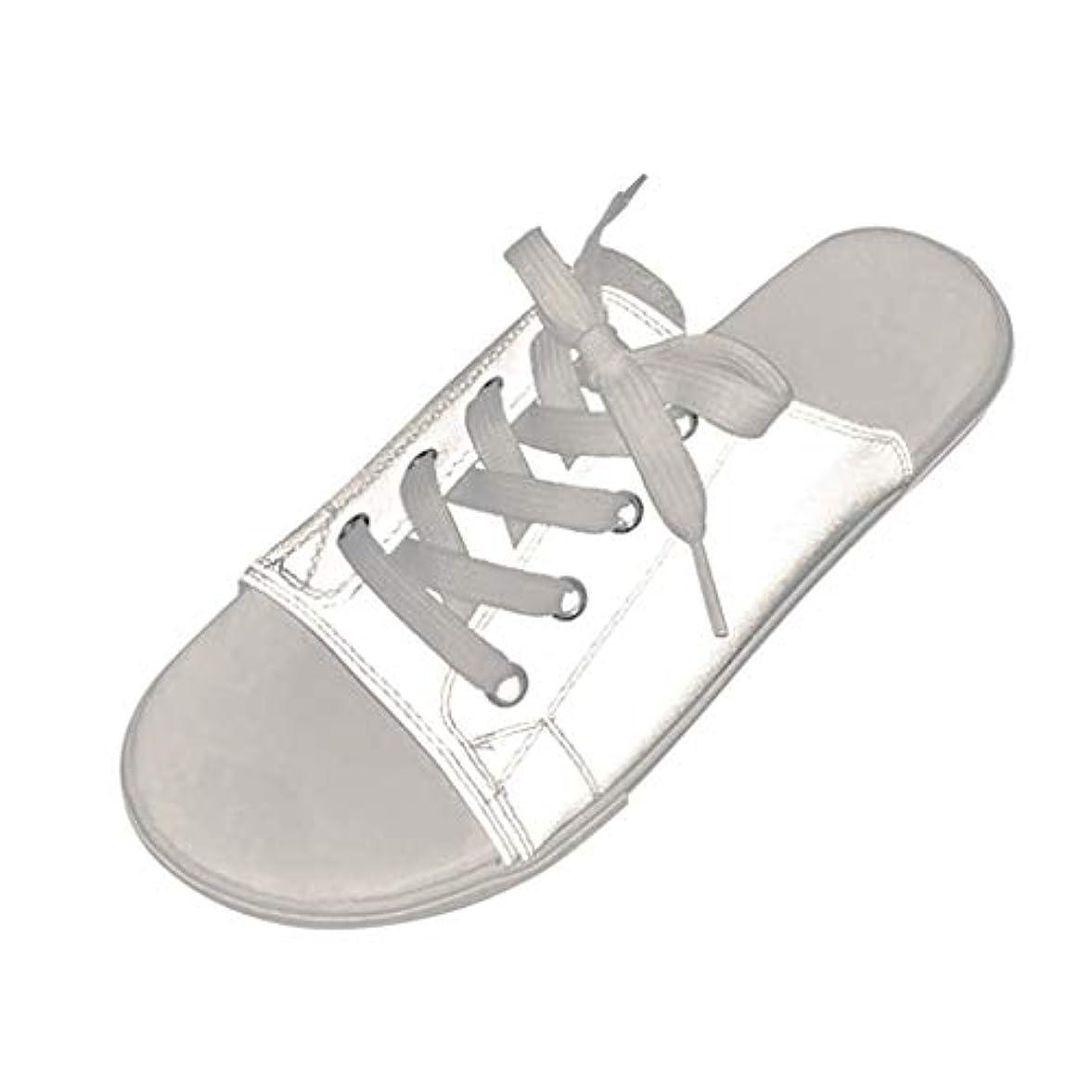 略す刺繍姿勢カップルは靴を照らす スリッパシューズ サンダル フラットビーチシューズ 魚の口の靴 輝くサンダル フラットスリッパ レースアップビーチサンダル