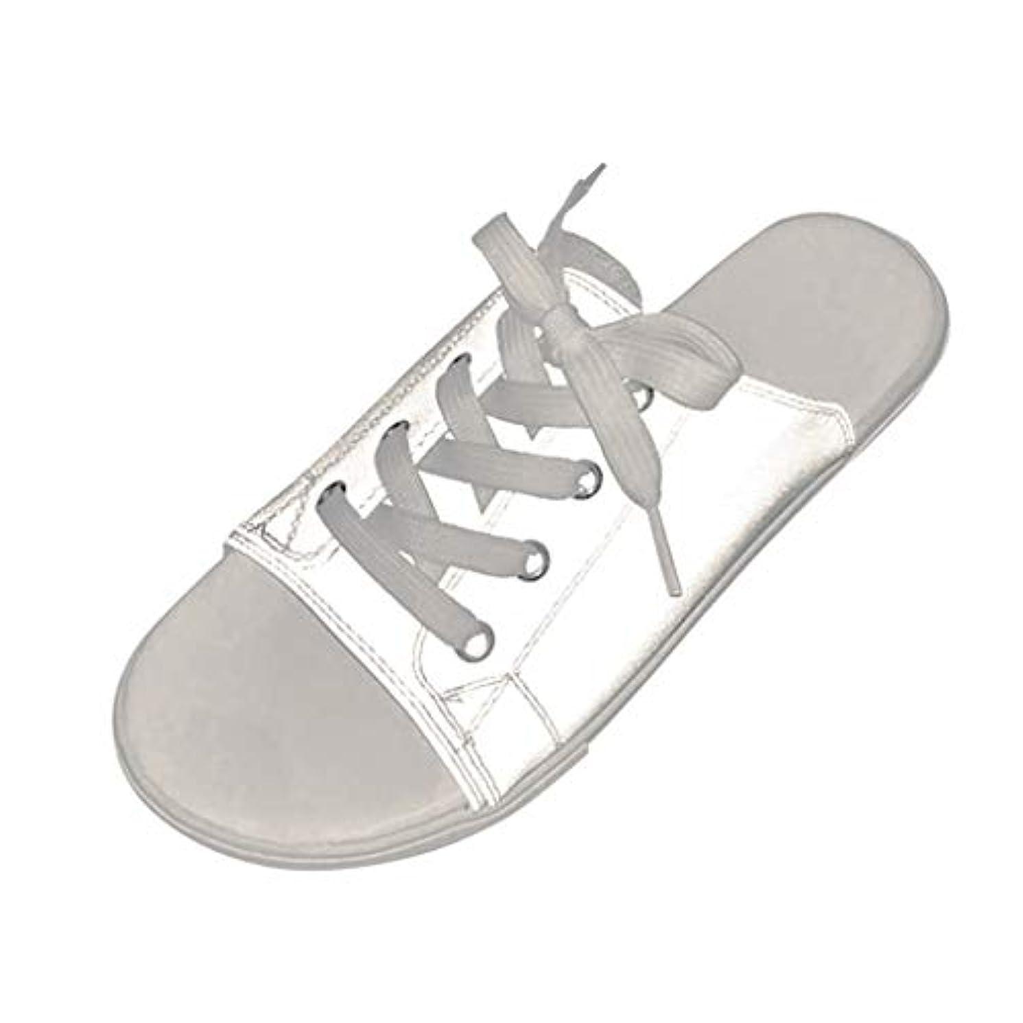 放送大洪水簡単にカップルは靴を照らす スリッパシューズ サンダル フラットビーチシューズ 魚の口の靴 輝くサンダル フラットスリッパ レースアップビーチサンダル
