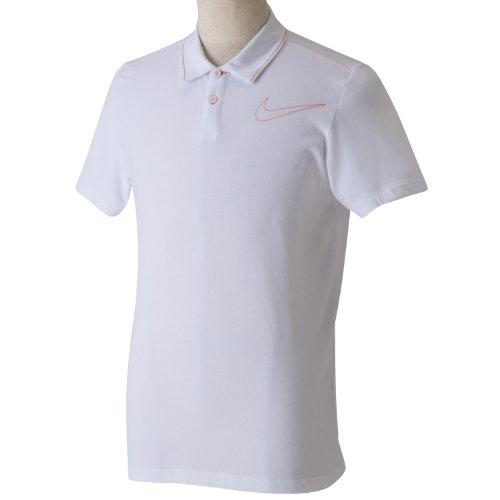 (ナイキゴルフ)NIKE Golf ジャージスウッシュSSポロ 456894 100 ホワイト/セイフティオレンジ/セイフティオレンジ M