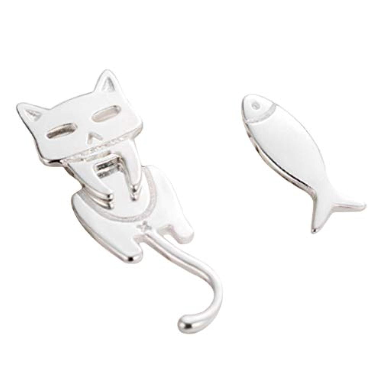 LUXWELL(ラクスウェル)イヤリング ピアス レディース スタッドイヤリング 耳飾り 金属アレルギー対応 ホロウ 猫 魚柄 ファッション 個性 オシャレ プレゼント 学生