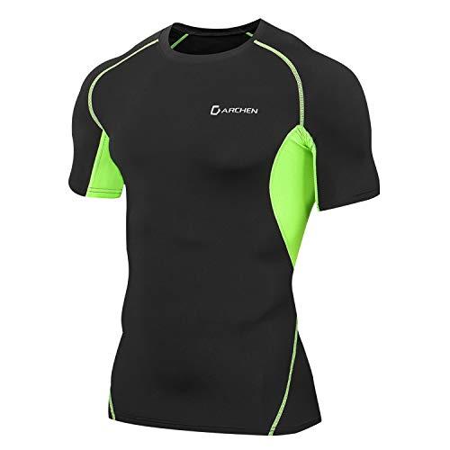 Darchen(ダーチェン) 加圧tシャツ 半袖 メンズ スポーツウェア [軽量 吸汗速乾 メッシュ通気] コンプレッショントップス インナー アンダーウェア 筋トレ ダイエット グリーンL