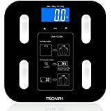 Triomph Body Fat Scale, Digital Bathroom Scale Body Composition Analyzer with Backlit LCD for Body Weight, Fat, Water, Muscle