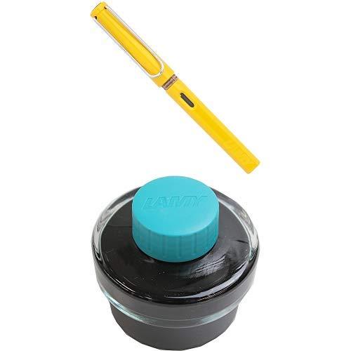 LAMY ラミー 万年筆 ペン先EF(極細字) サファリ イエロー L18-EF 両用式 コンバーター別売 正規輸入品+LAMY ラミー ボトルインク ターコイズ LT52TQ 正規輸入品