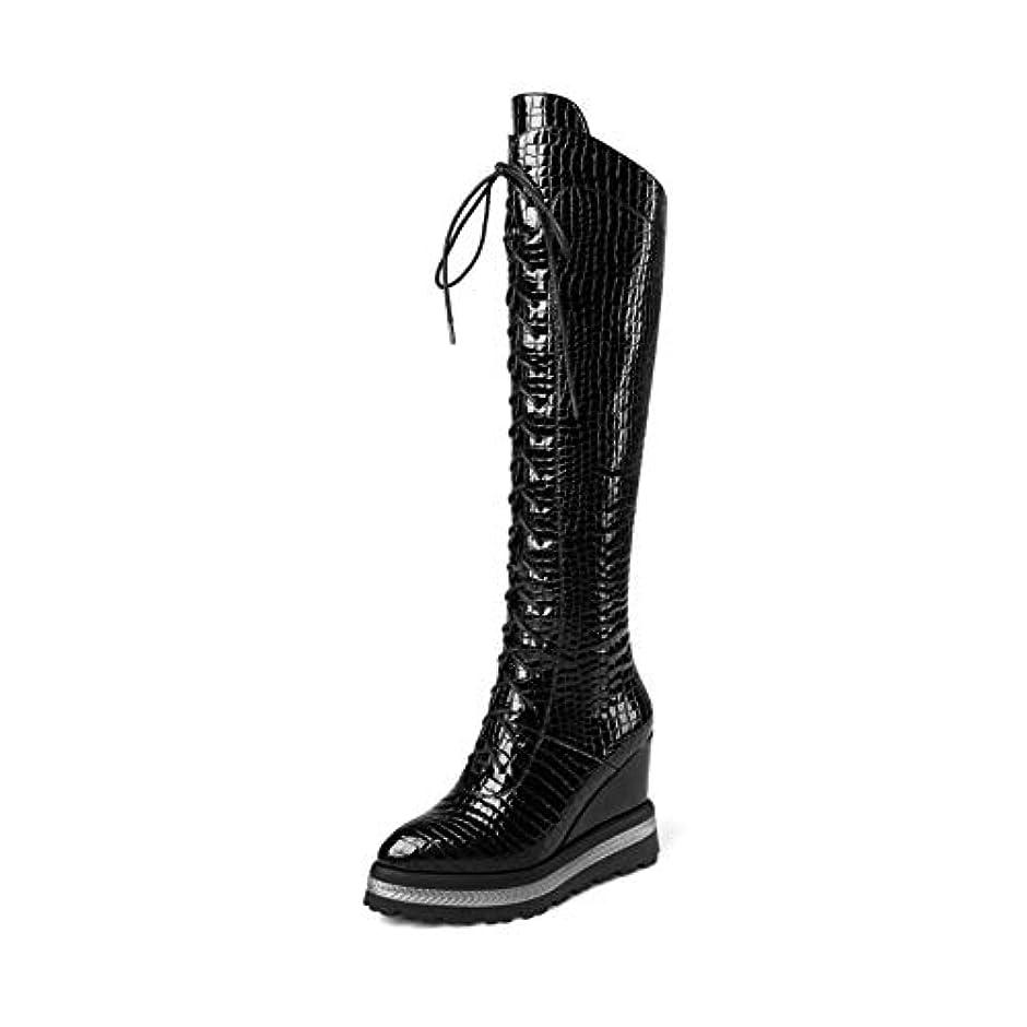 前提解釈する縫い目レディースロングブーツ、ファッションウィンターウェッジヒールマーティンブーツスーパーハイヒールロングブーツナイトブーツ (色 : ブラック, サイズ : 42)