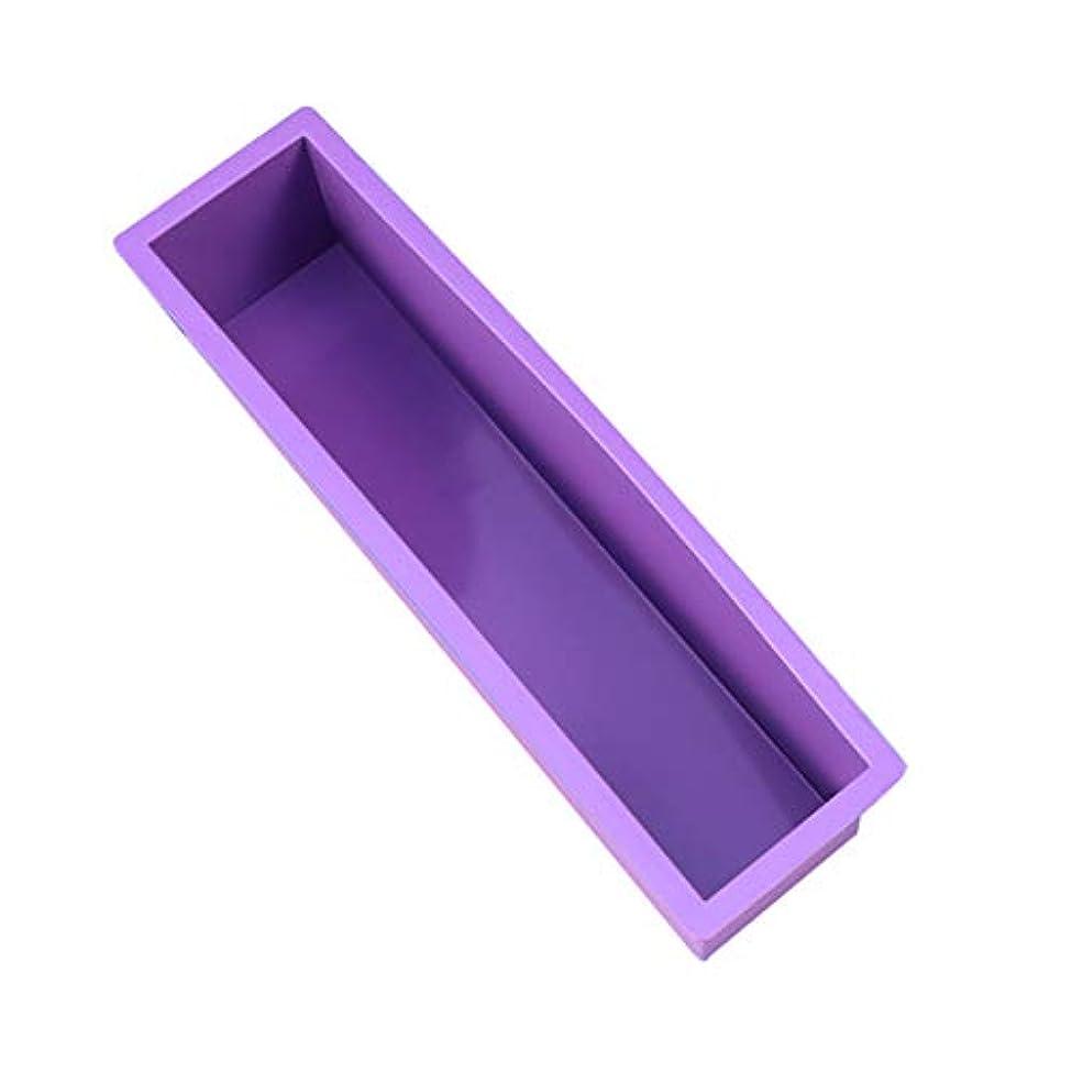 チャート裂け目アイドルHealifty DIYの石鹸金型スクエアラウンドオーバル金型木製ボックスサイズなしの手作り金型 - S(紫)