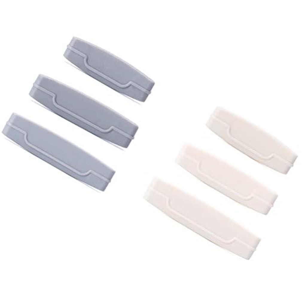 滑る異形ラッシュTOPBATHY 6本入り歯磨き粉チューブスクイーズディスペンサー歯磨き粉ごみ減量用クレンザー用押出機クリップ(灰白)