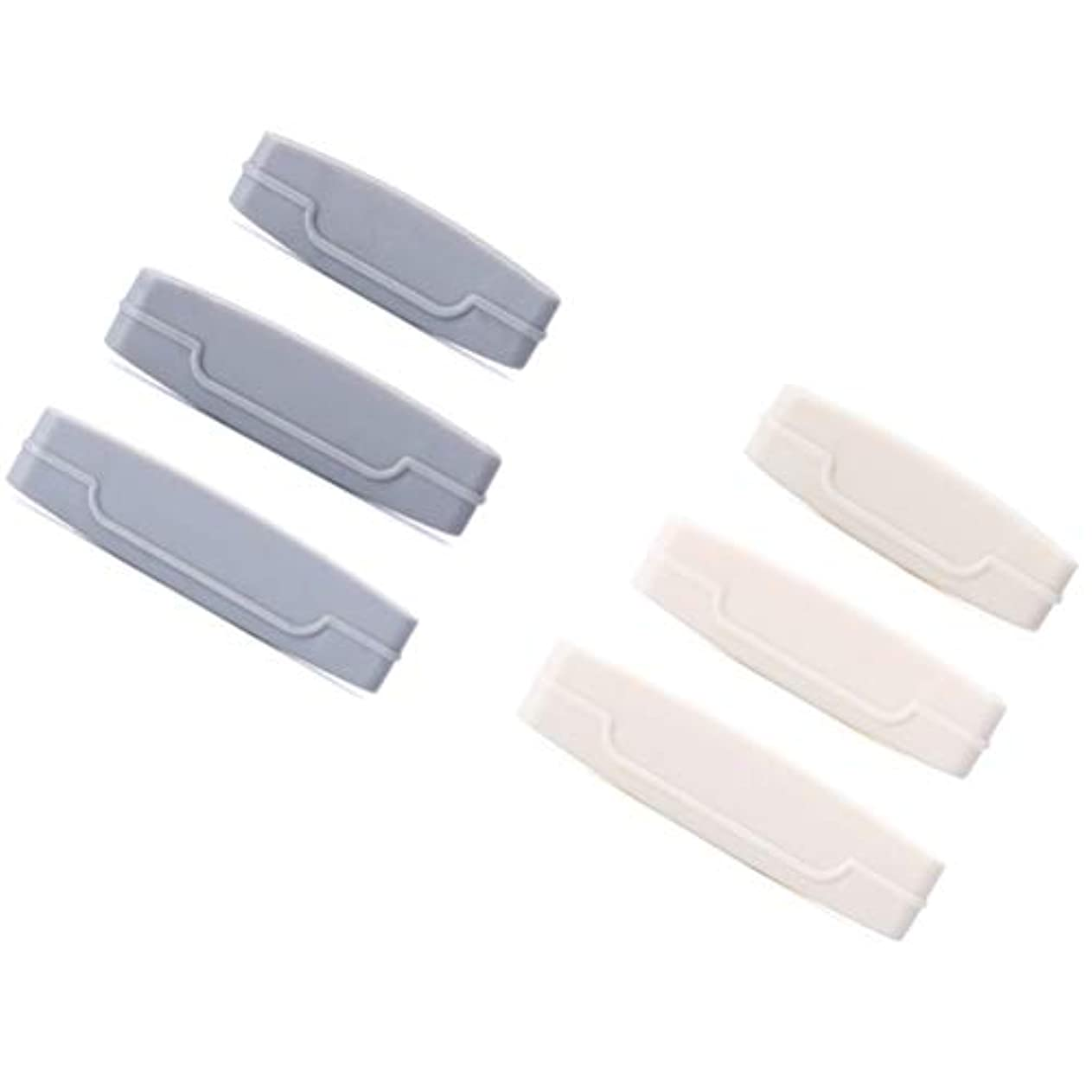 顕微鏡潜在的な剪断TOPBATHY 6本入り歯磨き粉チューブスクイーズディスペンサー歯磨き粉ごみ減量用クレンザー用押出機クリップ(灰白)