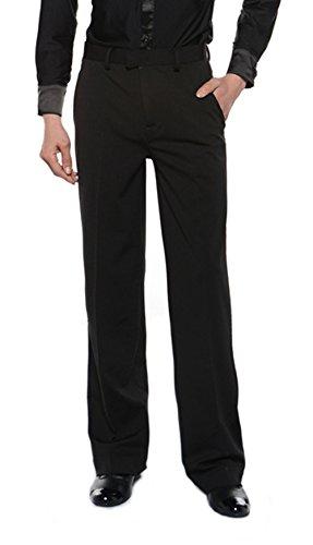 RIKOUZY(リコウゼワイ)メンズ ラテン用ズボン ラテンパンツ 社交ダンス ダンスウェア レッスン着 練習 競技用 モダン デモ用 男性ダンス衣装 ストレッチ 美脚 ゆったり(Bタイプ,ウエスト約80cm)