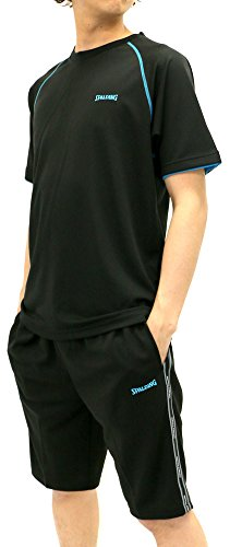 SPALDING(スポルディング) ランニングウェア 上下セット セットアップ ドライ スポーツシャツ ジャージ ショートパンツ セット メンズ ブラック 3L