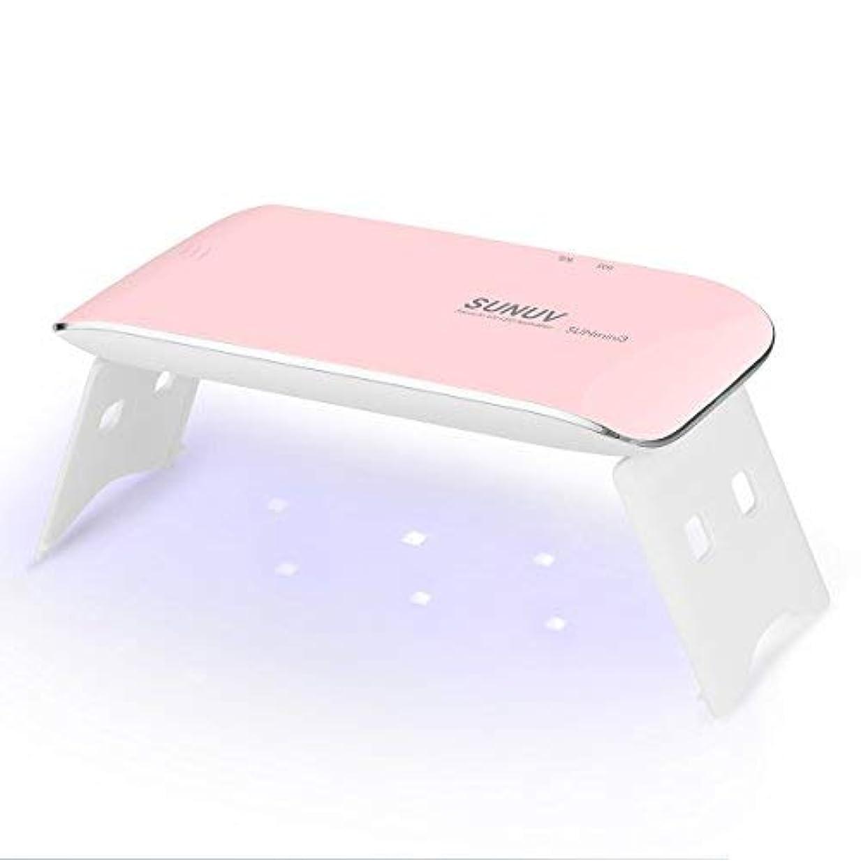 SUNUV UV LEDライト ネイルドライヤー mini ミニ ジェルネイルライト 日本語説明書 ネイルライト 6W 初心者 電池 USB給電 2倍の長寿命 カワイイ 携帯式 一年保証期間