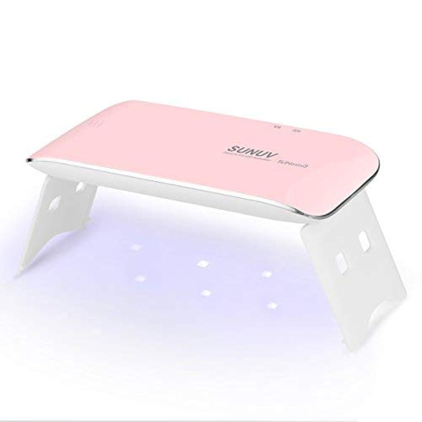 出血バックフォークSUNUV UV LEDライト ネイルドライヤー mini ミニ ジェルネイルライト 日本語説明書 ネイルライト 6W 初心者 電池 USB給電 2倍の長寿命 カワイイ 携帯式 一年保証期間