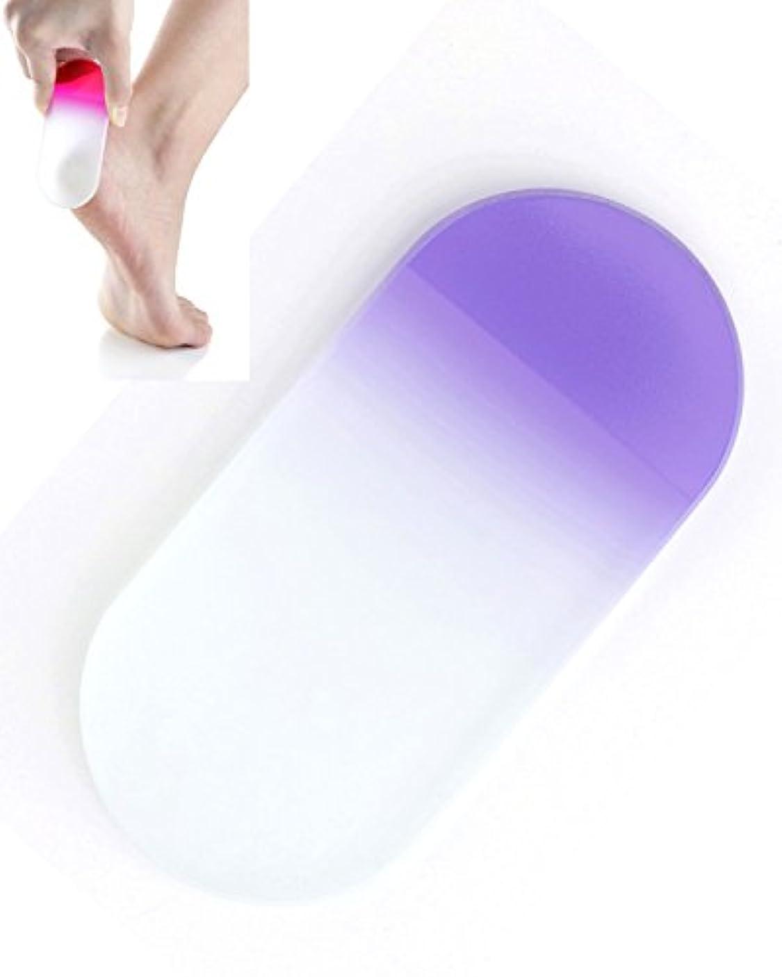 サポートランドリー発明BISON チェコ製ガラス かかとキレイ バイオレット 荒目/細目両面 専用ケース付 介護用